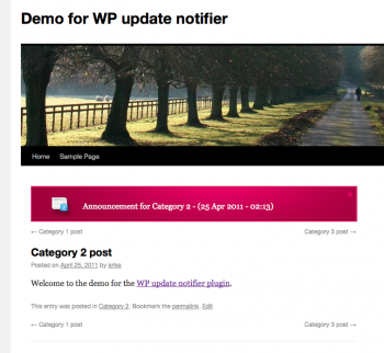 WP update notifier